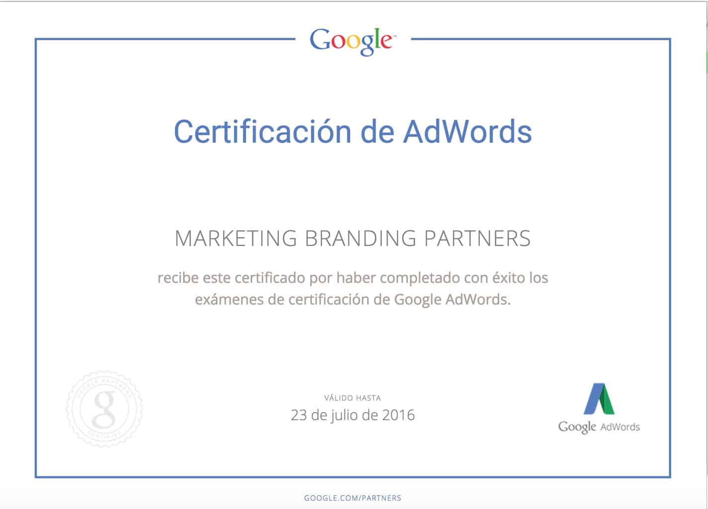 Certificacion de Adwords, Marketing Branding, servicios google adwords