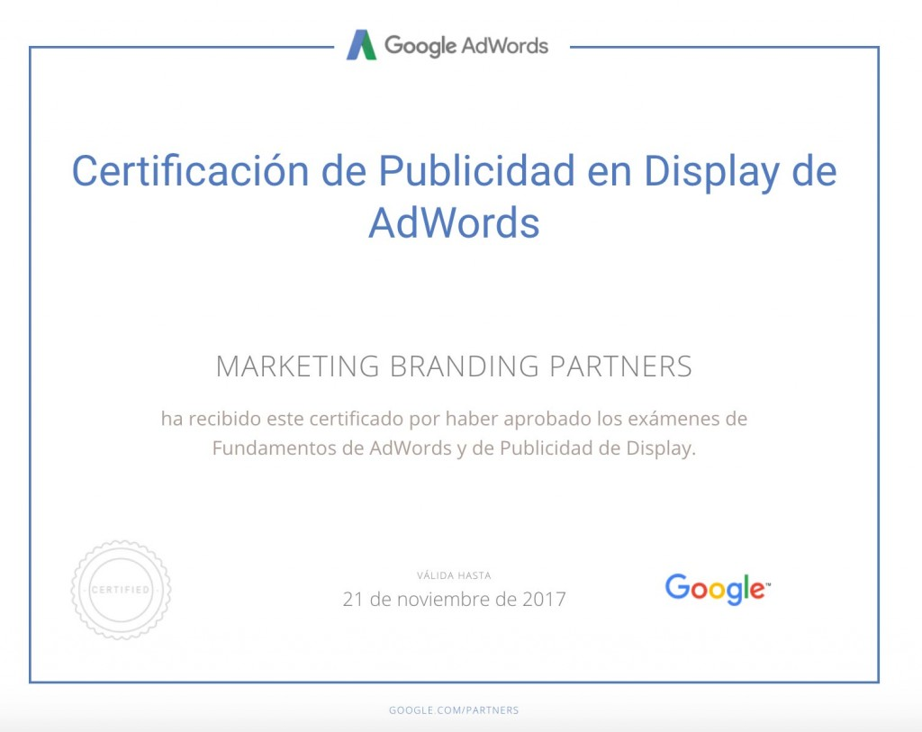 certificado google, certificado publicidad en display de adwords, certificado google adwords