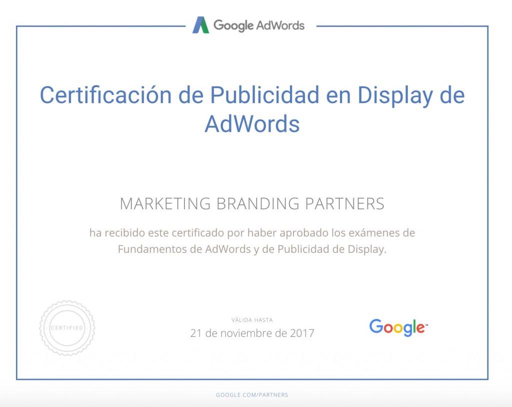 certificado google, certificado publicidad en display de adwords, certificado google adwords