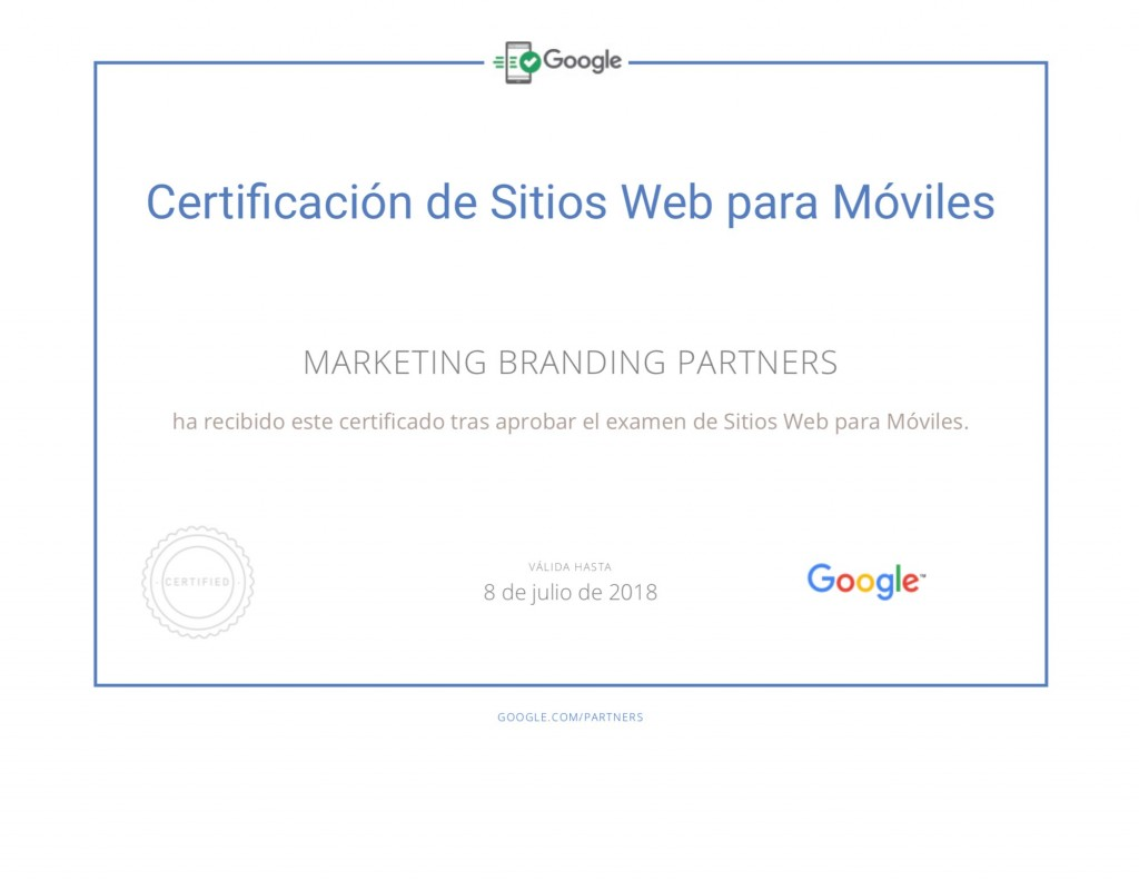 certificado google, sitios web para moviles, certificado google adwords
