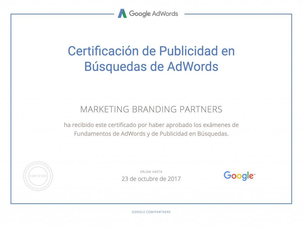 certificado google, certificado google adwords, publicidad en busquedas de adwords