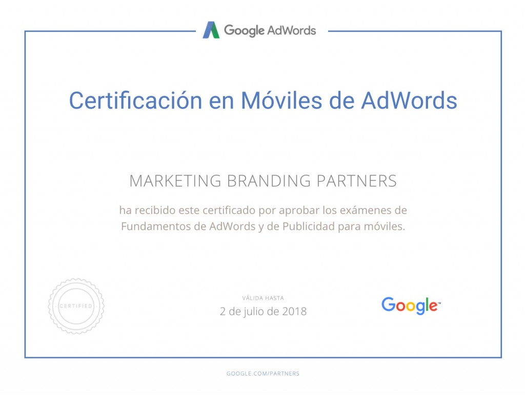 certificado google, certificado en moviles de google adwords