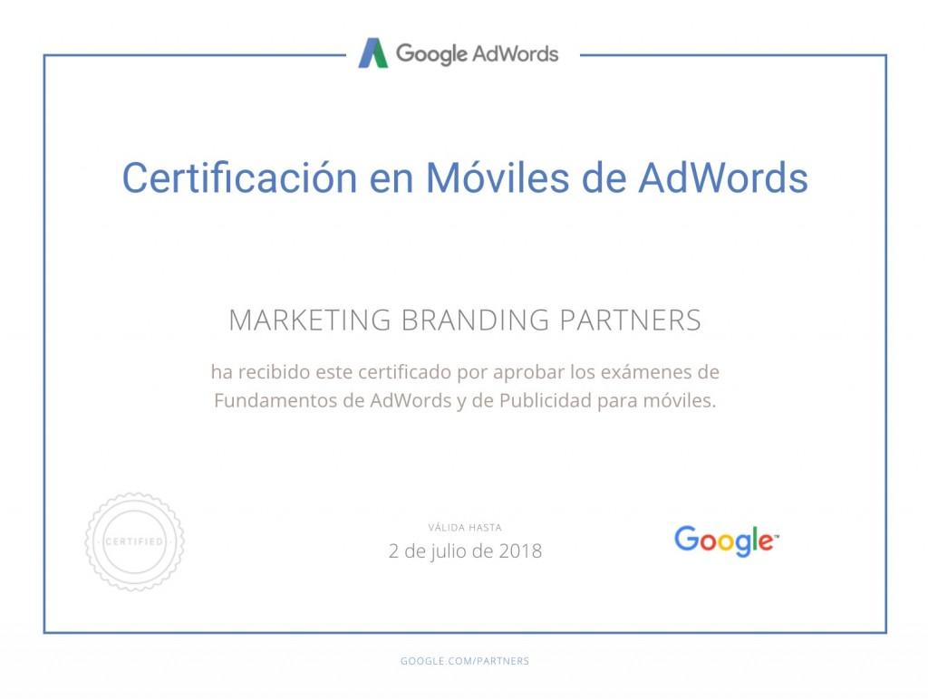 certificado google, certificado en moviles de google adwords